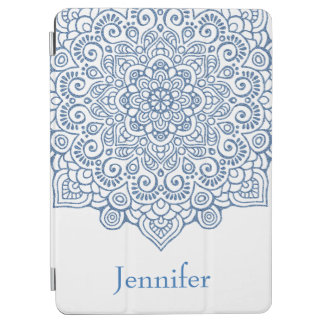 Metallic indigo blue Intricate Lace Mandala white iPad Air Cover