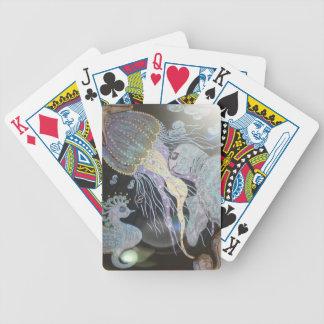 Metallic jellyfish bicycle playing cards