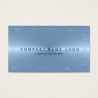 Metallic Light Blue Stainless Steel Look Business Card
