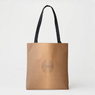 Metallic look copper circle name monogram stylish tote bag