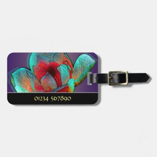 Metallic magnolia personalised luggage tags