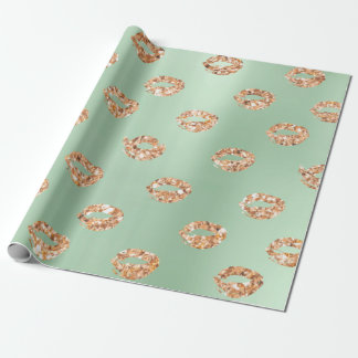 Metallic Mint Green Tiffany 3D Rose Gold Copper Wrapping Paper