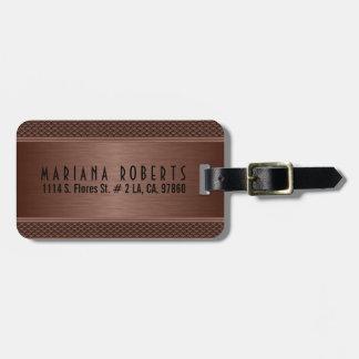 Metallic Monogramed Brown Brushed Aluminum Look Luggage Tag