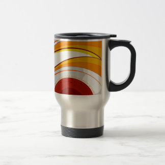 Metallic mug full off colors with curve lines