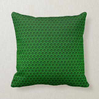 Metallic Neon Green Graphite Honeycomb Carbon Fibe Throw Pillow