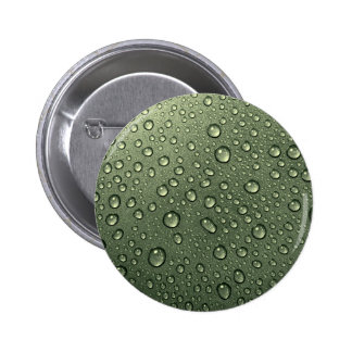 metallic olive green with water droplets pinback button