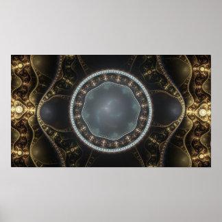 Metallic Ornate Steampunk Fractal Image Poster