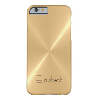 Metallic Pale Gold Stainless Steel Metal Look Barely There iPhone 6 Case