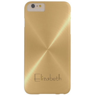 Metallic Pale Gold Stainless Steel Metal Look Barely There iPhone 6 Plus Case