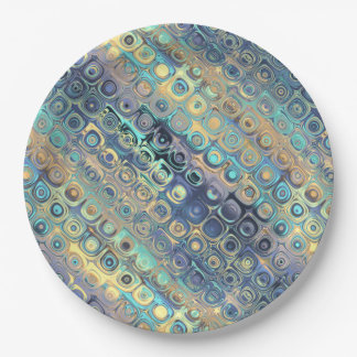 Metallic Pastel Lights Blue Pattern 9 Inch Paper Plate