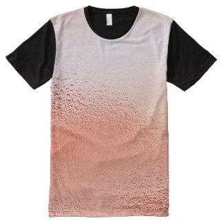 Metallic Peach Pink Glass Frozen Black Design All-Over Print T-Shirt