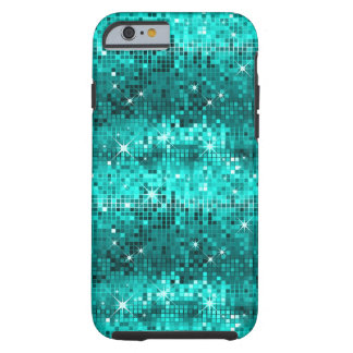 Metallic Peacock Green Sequins Look Disco Glitter Tough iPhone 6 Case