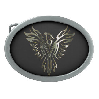 Metallic Phoenix Oval Belt Buckle