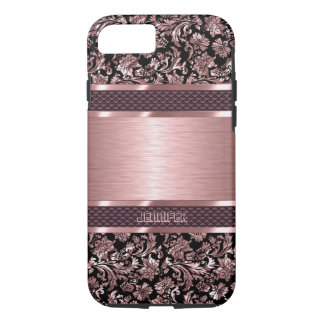 Metallic Pink And Black Floral Damasks iPhone 7 Case