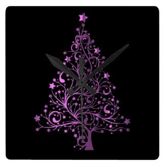 Metallic Pink Black Stars Christmas Tree Elegant Square Wall Clock