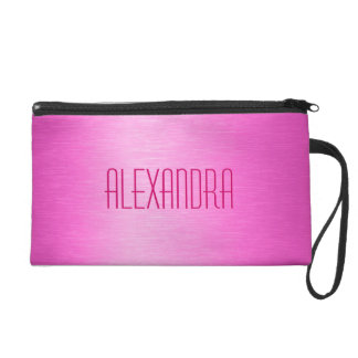 Metallic Pink Brushed Aluminum Look Monogram Wristlet