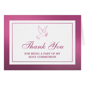 Metallic Pink Dove Holy Communion Or Confirmation Card