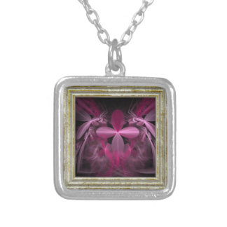 Metallic Pink flower Petals Silver Plated Necklace
