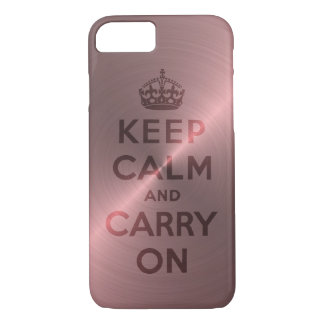 Metallic Pink Keep Calm And Carry On iPhone 8/7 Case