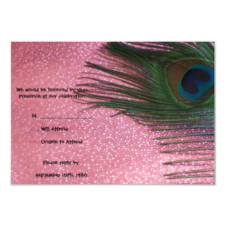 Metallic Pink Peacock Feathers Wedding RSVP Cards 9 Cm X 13 Cm Invitation Card