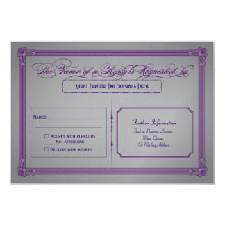 Metallic Purple and Gray Wedding RSVP Personalized Announcement