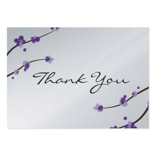 Metallic Purple Cherry Blossom Favour Tag Business Card Templates