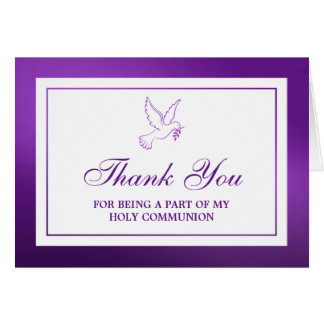 Metallic Purple Dove Holy Communion/Confirmation Card