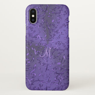 Metallic Purple Music Notes Monogram iPhone X Case