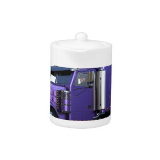 Metallic Purple Semi Tractor Trailer Truck