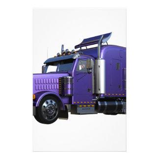 Metallic Purple Semi Tractor Trailer Truck Stationery