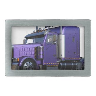 Metallic Purple Semi Truck In Three Quarter View Belt Buckle