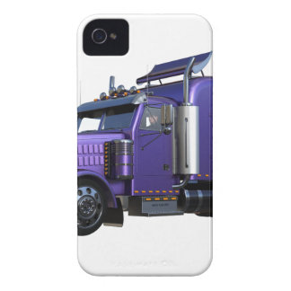 Metallic Purple Semi Truck In Three Quarter View iPhone 4 Cases