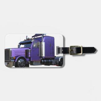 Metallic Purple Semi Truck In Three Quarter View Luggage Tag