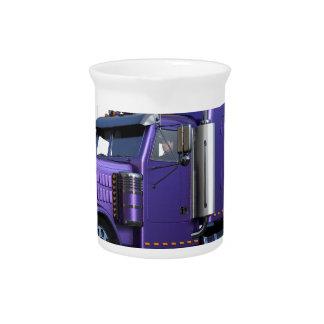 Metallic Purple Semi Truck In Three Quarter View Pitcher
