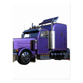 Metallic Purple Semi Truck In Three Quarter View Postcard