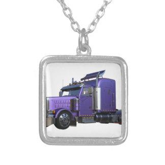 Metallic Purple Semi Truck In Three Quarter View Silver Plated Necklace
