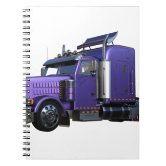 Metallic Purple Semi Truck In Three Quarter View Spiral Notebook
