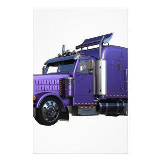 Metallic Purple Semi Truck In Three Quarter View Stationery
