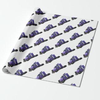 Metallic Purple Semi Truck In Three Quarter View Wrapping Paper