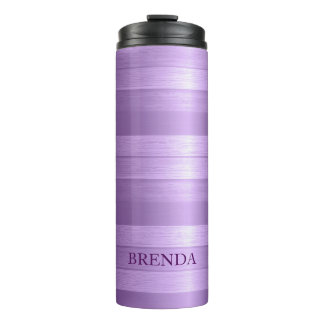 Metallic Purple Stripes Thermal Tumbler