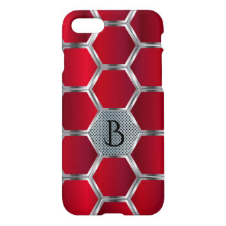 Metallic Red And Silver Octagons Geometric Pattern iPhone 8/7 Case