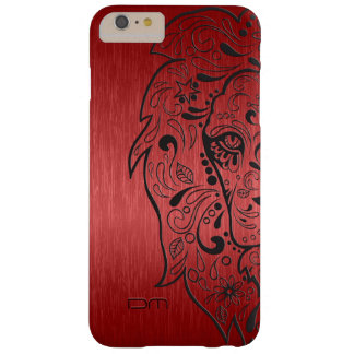 Metallic Red & Black Lion Sugar Skull Barely There iPhone 6 Plus Case