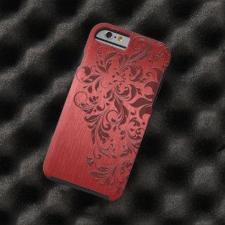 Metallic Red Brushed Aluminum & Dark Red Lace Tough iPhone 6 Case
