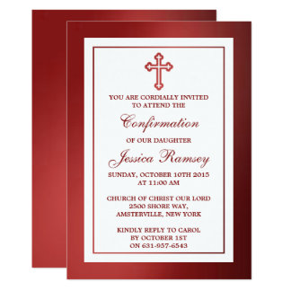 Metallic Red Cross Holy Communion Or Confirmation Card