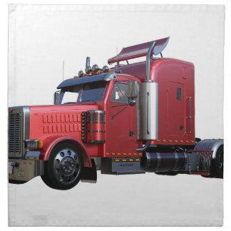 Metallic Red Semi Tractor Traler Truck Napkin