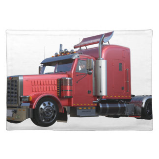 Metallic Red Semi Tractor Traler Truck Placemat
