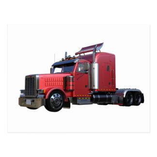 Metallic Red Semi Tractor Traler Truck Postcard