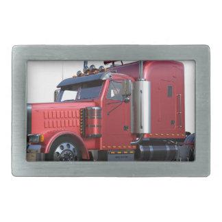 Metallic Red Semi Tractor Traler Truck Rectangular Belt Buckle