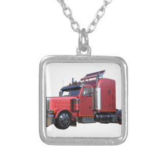 Metallic Red Semi Tractor Traler Truck Silver Plated Necklace
