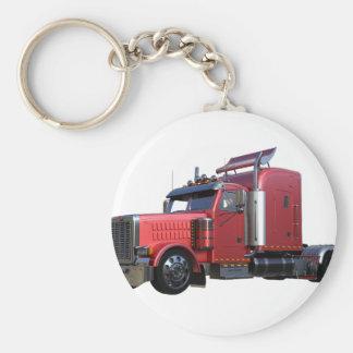Metallic Red Semi TruckIn Three Quarter View Basic Round Button Key Ring